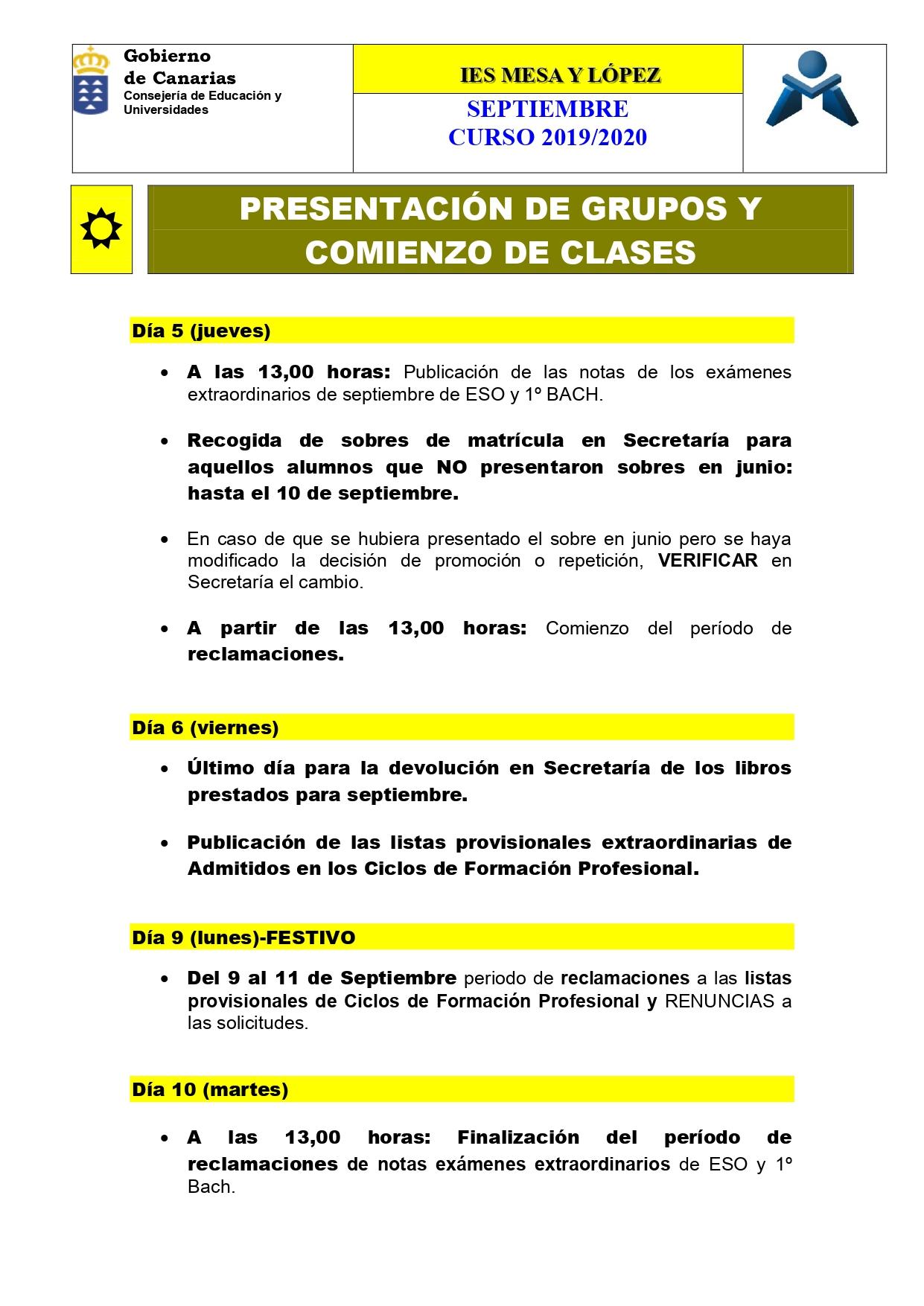 Calendario Junio 2020 Pdf.Curso 2019 2020 Inicio De Curso Y Calendario Anual