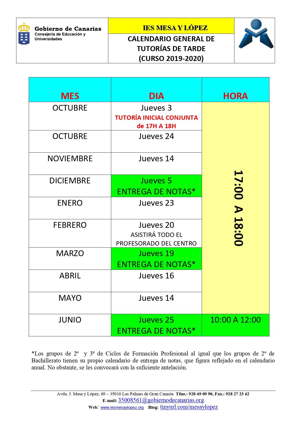 Calendario Escolar 2020 Las Palmas.Curso 2019 2020 Inicio De Curso Y Calendario Anual